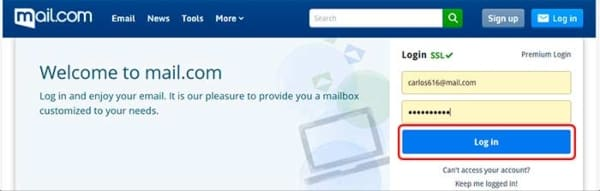 iniciar sesión en Mail.com