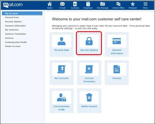 opciones seguridad de Mail.com