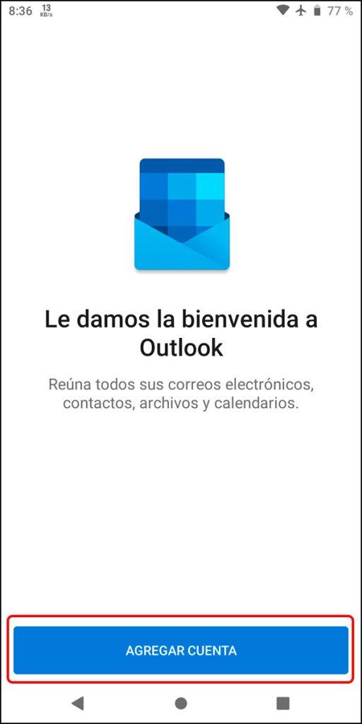Inicio app Outlook