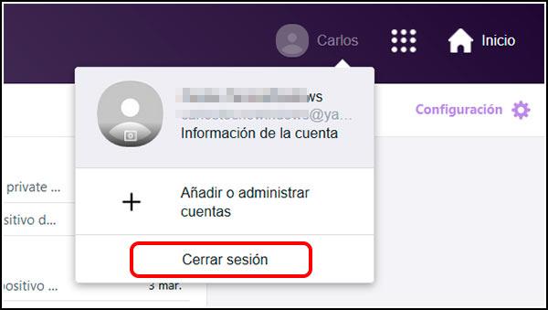 Botón cerrar sesión Yahoo