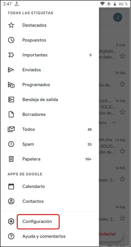 Configuración aplicación Gmail
