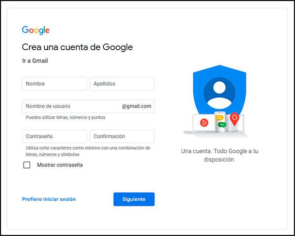 formulario para crear gmail