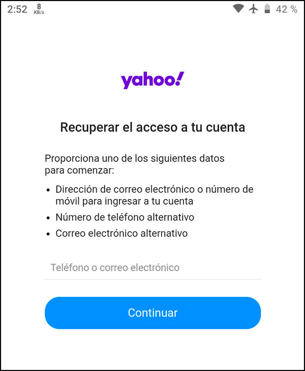 Buscar cuenta Yahoo en aplicación