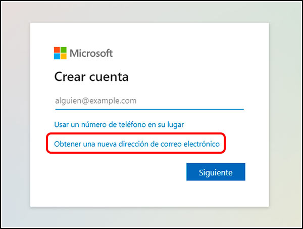 Crear nuevo email outlook