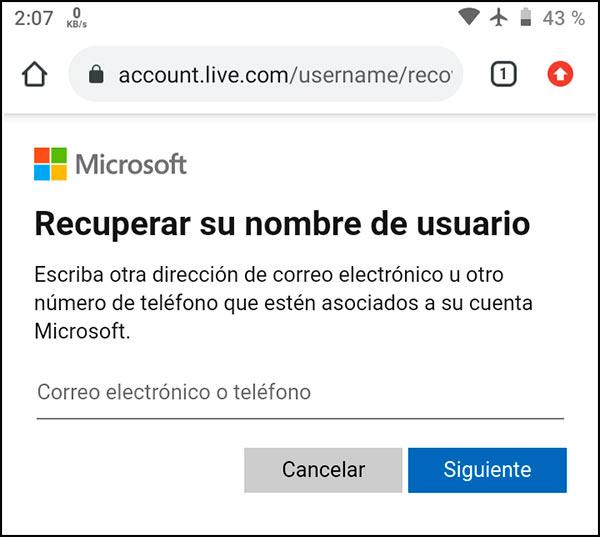 Recuperar cuenta Outlook Móvil