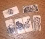 Katzenmagnete aus alten Dominosteinen