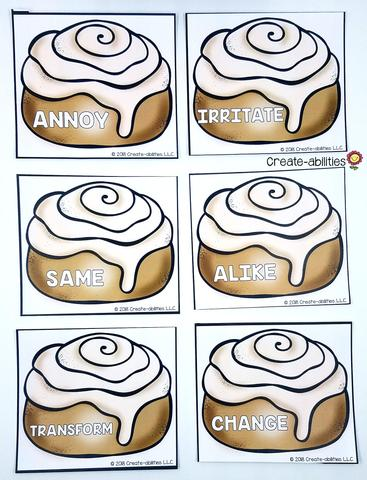 Synonym Grouping Cards Cinnamon Rolls