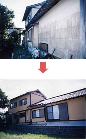 汚れやひびが目立つ外壁も一目瞭然の変化