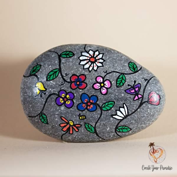 Galet Peint Fleurs