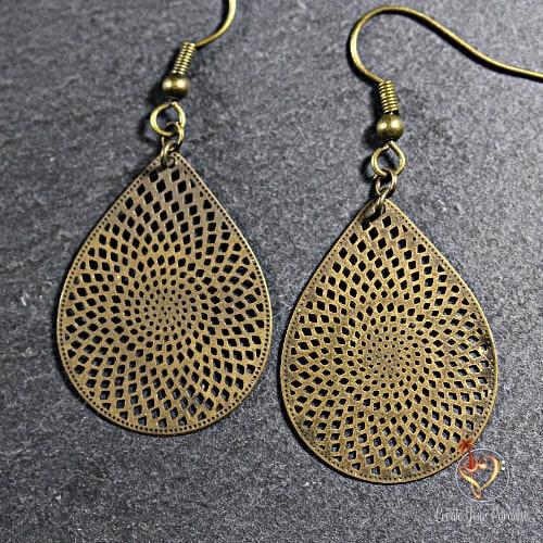 Boucles d'Oreilles Mandala Bronze