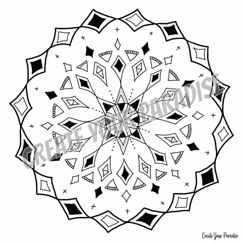 Mandala fait main noir et blanc