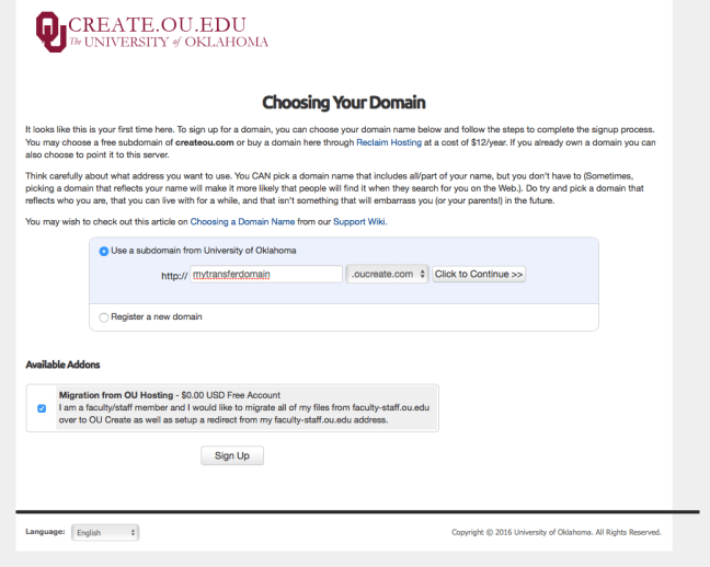 This image is a screen shot of the web site showing the option box for assisted migration from the faculty-staff domain to the Create service.
