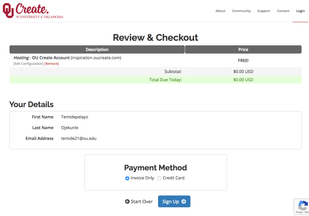 The checkout screen for a free .oucreate.com subdomain should show a $0 charge. If you encounter a $12 charge, please email us to get that cleared.