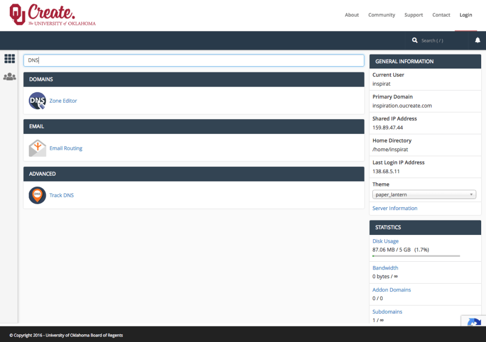 Screenshot of the OU Create cPanel with the search bar being used to filter for tools related to DNS.