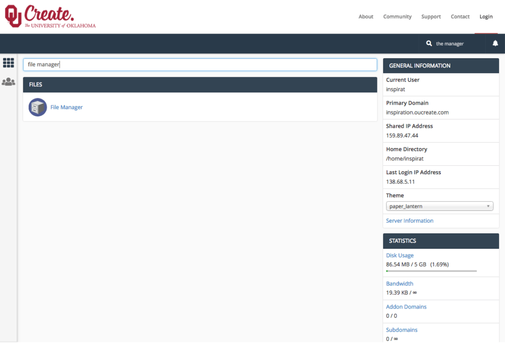 Screenshot of the OU Create cPanel depicting the search function being used to find the File Manager.