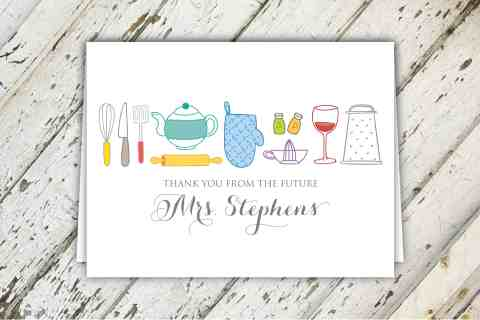 Thank You From The Future Mrs. Kitchen Themed Bridal Shower Thank You Notes