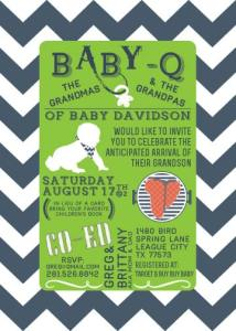 Baby-Q Shower Invitation   Navy & Kelly Green   Create&Capture
