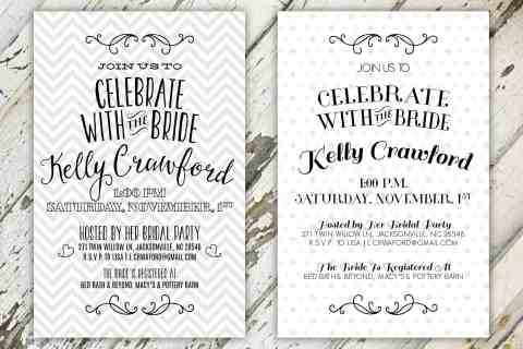Celebrate The Bride Patterned Bridal Shower Invitation