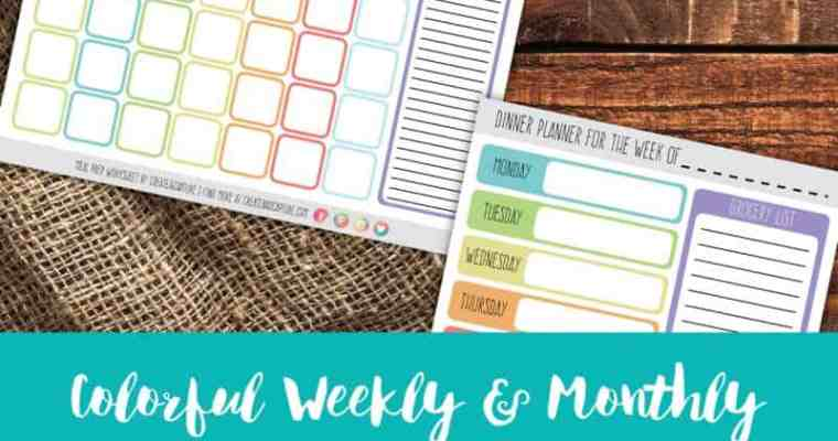 Colorful Weekly & Monthly Meal Planning Calendars   Free Download!