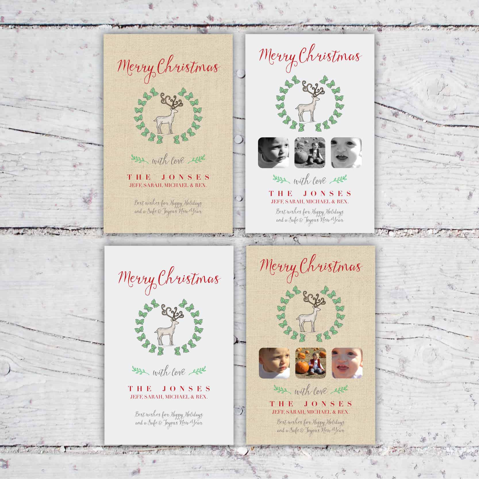 Rustic Reindeer Christmas Cards | Burlap or Gray Holiday Card | Photo Collage Christmas Cards | Rustic Chic Holiday Card | 5x7 | Create&Capture