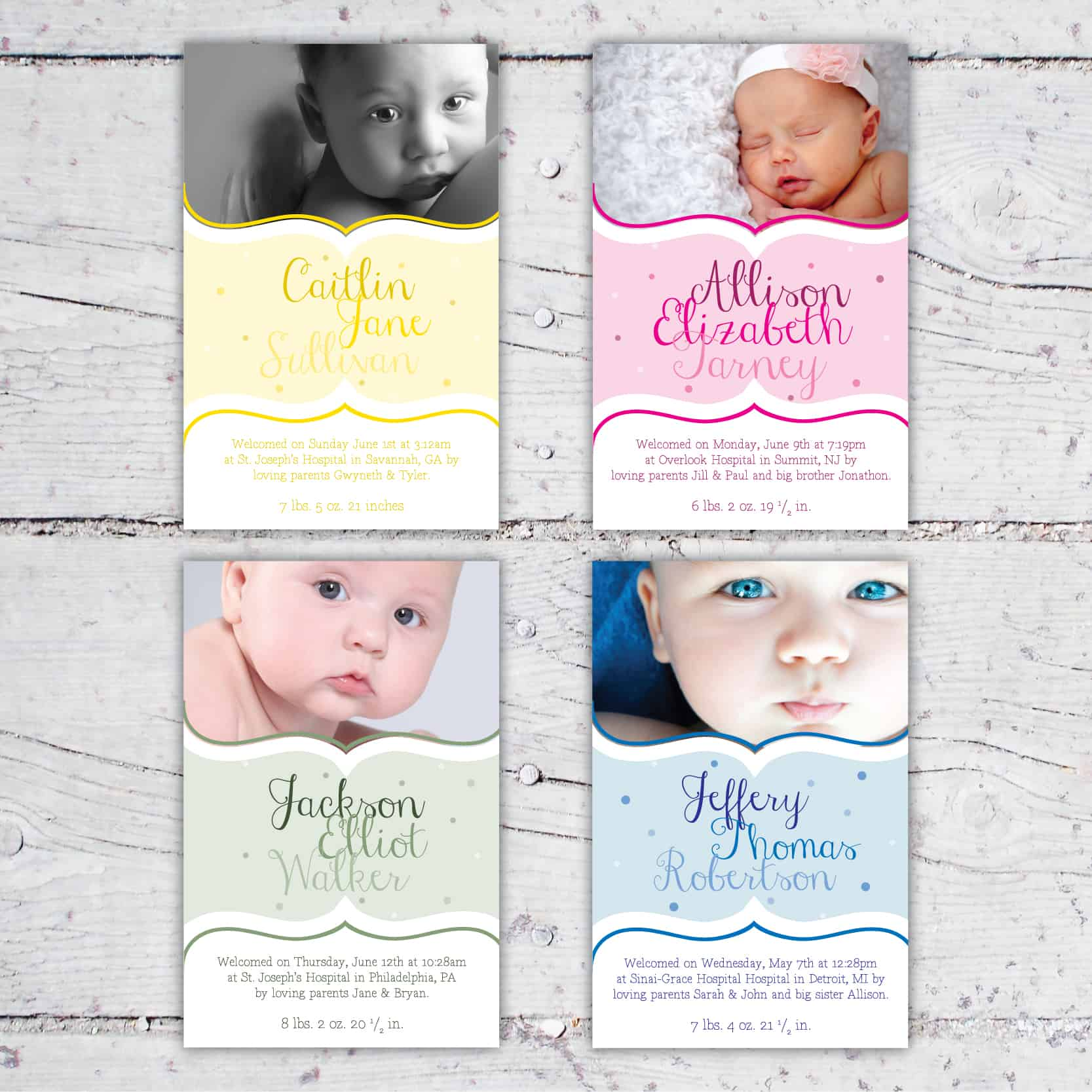 Soft & Whimsical Color Photo Birth Announcement | 5x7 | Digital Download | Printable | Pastel Colorful Baby Photo Custom Birth Announcement