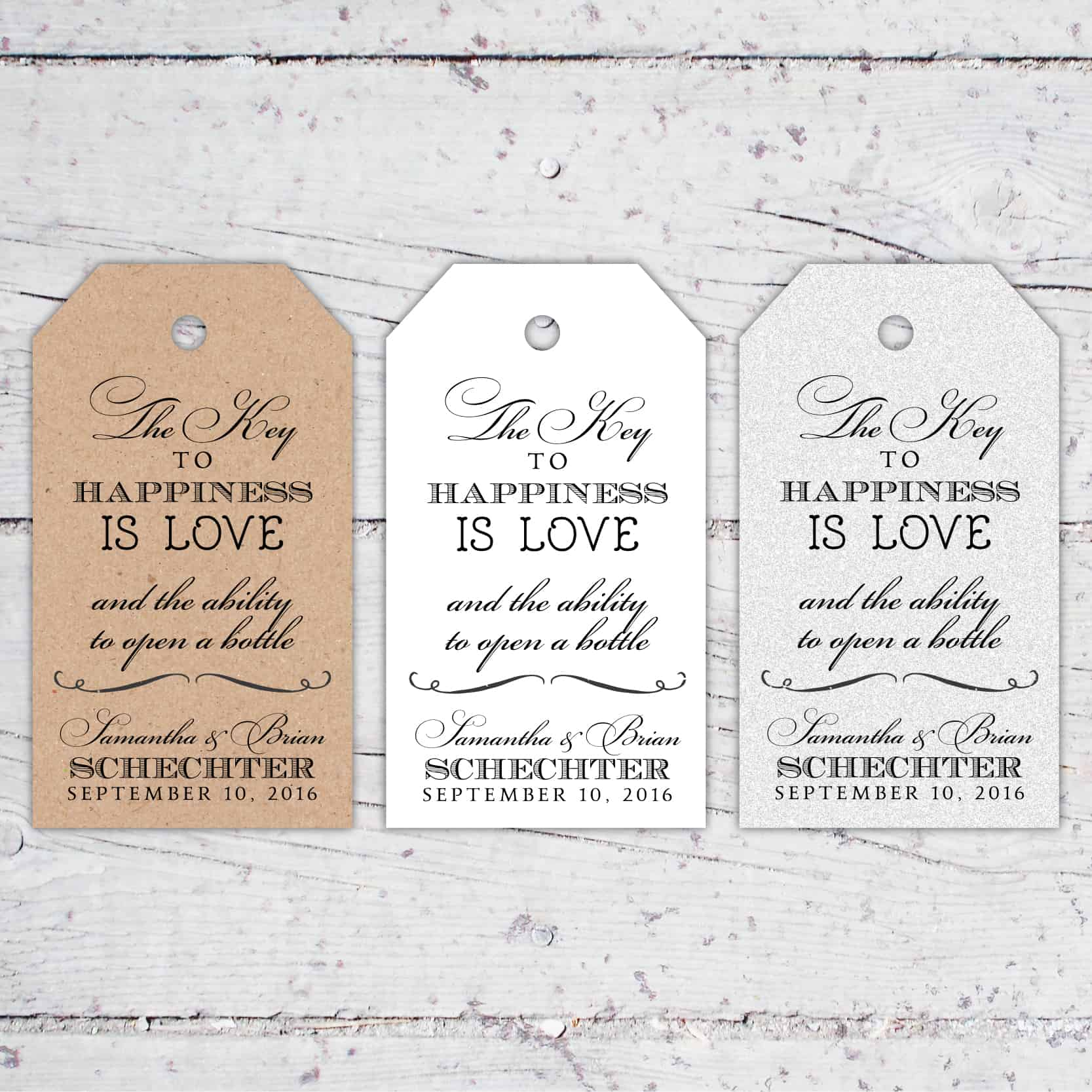 Key To Happiness Wedding Favor Tags