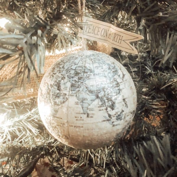 Maker's Holiday Christmas Travel Globe Ornament-Peace on Earth