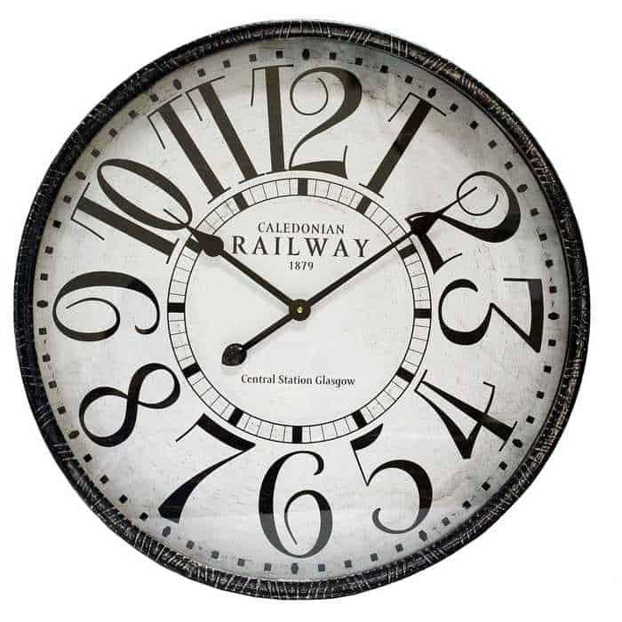 Black Round Metal Railway Wall Clock