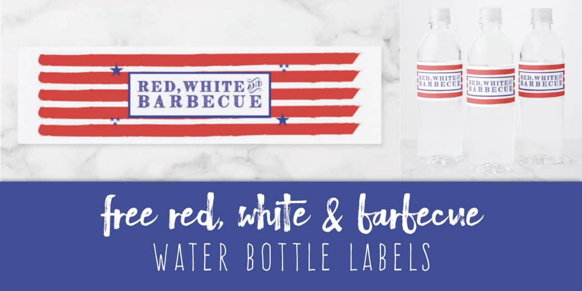 Free Red, White & Barbecue Water Bottle Labels Printable Create&Capture