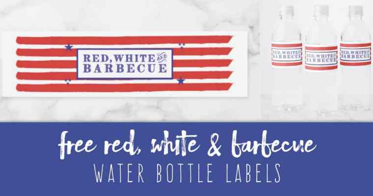 Free Red, White & Barbecue Water Bottle Labels