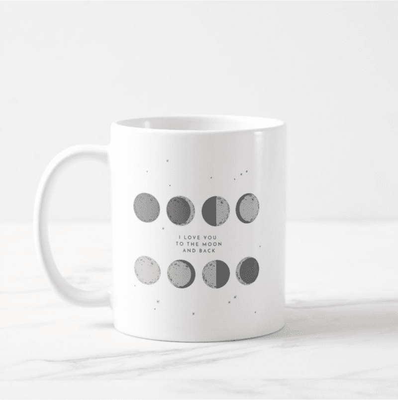 Love You To The Moon And Back | Phases of The Moon Coffee Mug by Create&Capture from Zazzle