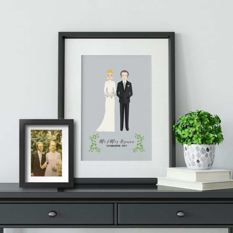 Personalized Illustrated Bride & Groom Art by Create&Capture from Etsy