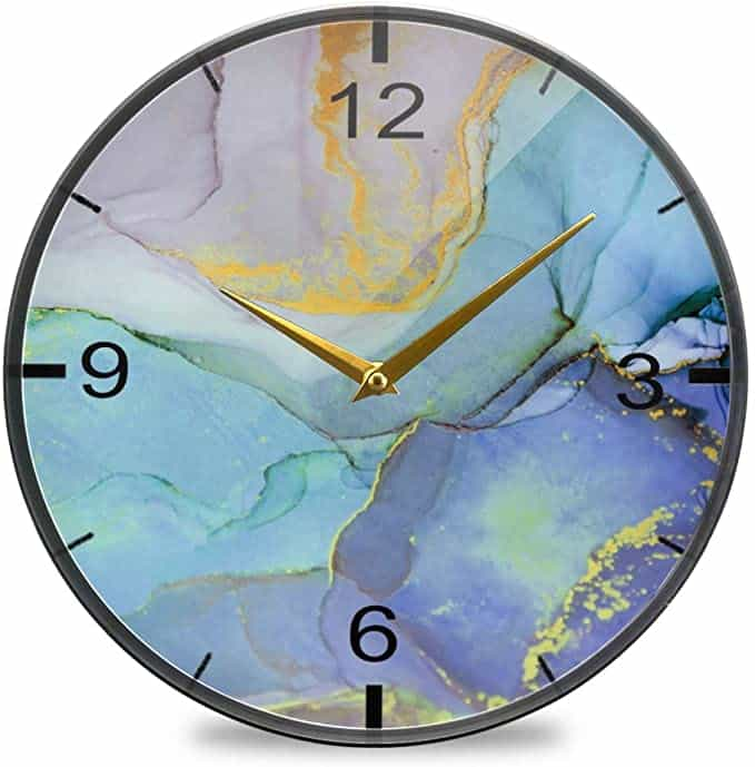 Marble Stone Color Wall Clock 12 Inch Non Ticking Silent Clocks | Marble Back To School Supplies Create&Capture