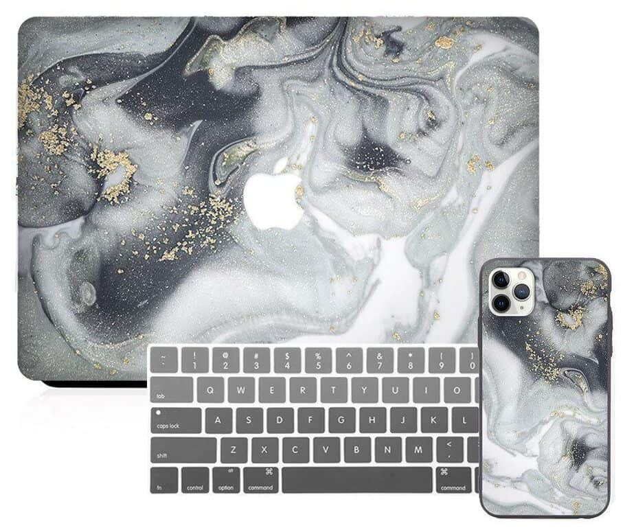 MacBook & iPhone Case Package - Gray Glitter Marble  from SlickCase | Marble Back To School Supplies Create&Capture
