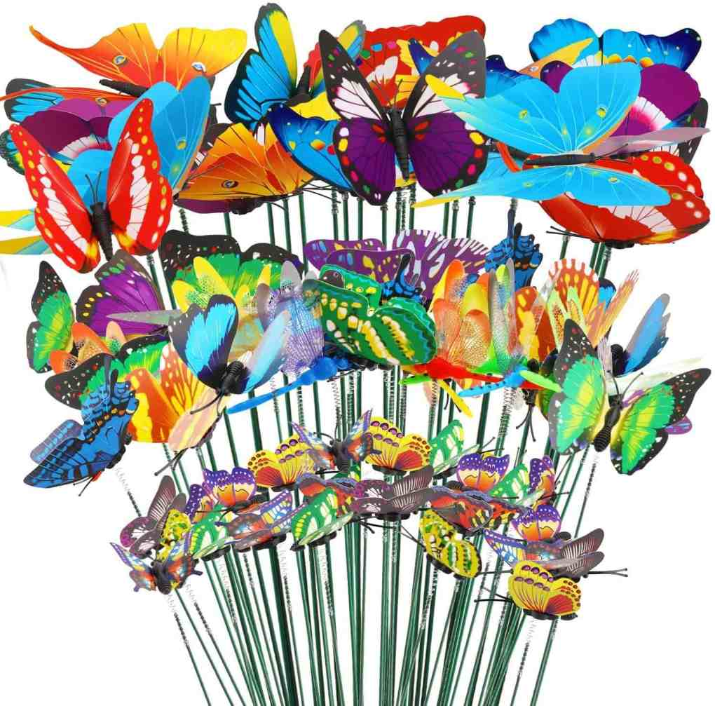 32pcs Garden Stakes Decorations, 24 Garden Butterflies Stakes, 8 Garden Dragonflies Stakes   Alice In Wonderland Themed Birthday Party   Create&Capture