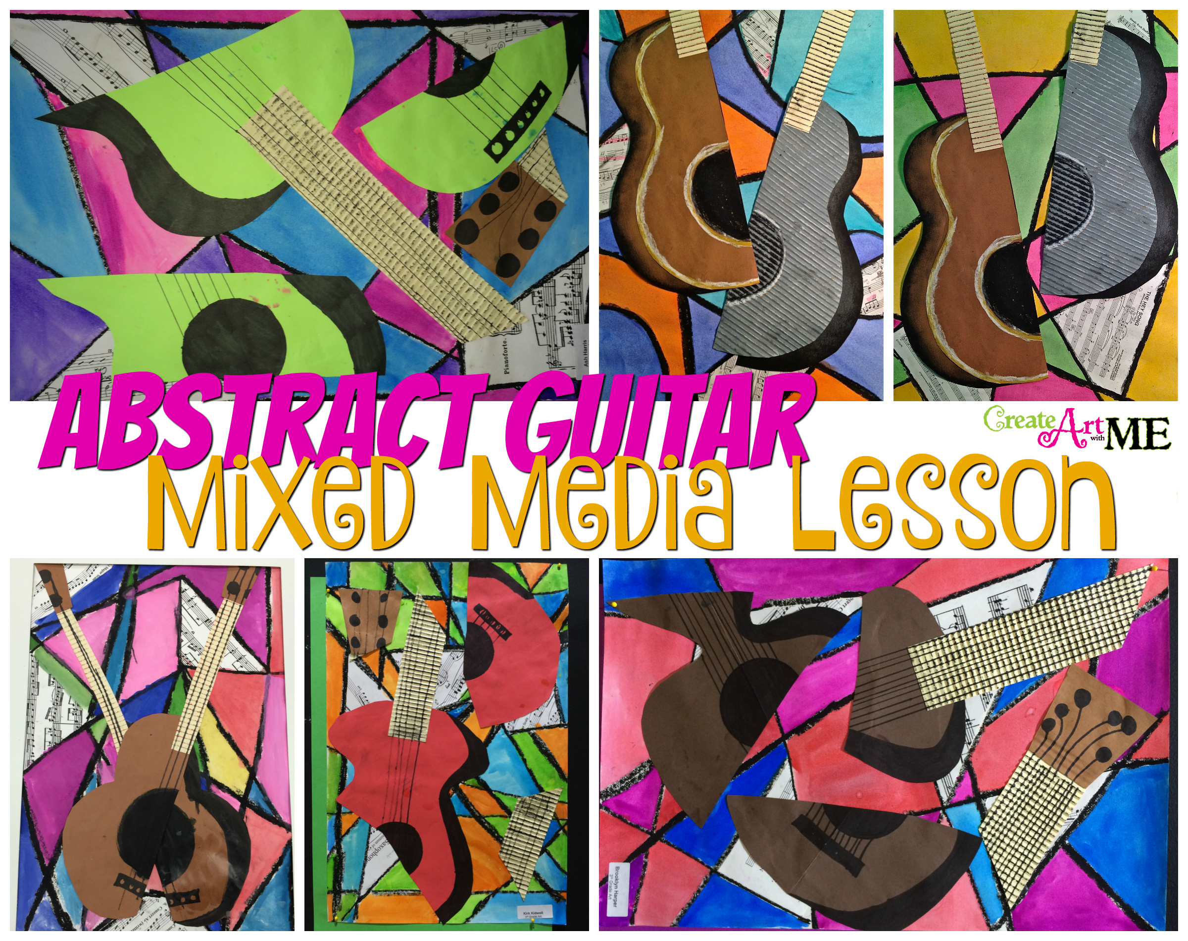 Abstract Art Guitar or Music Instrument Mixed Media Lesson ...