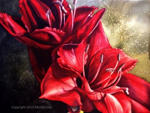 Amaryllis Watercolor Painting by Michelle East