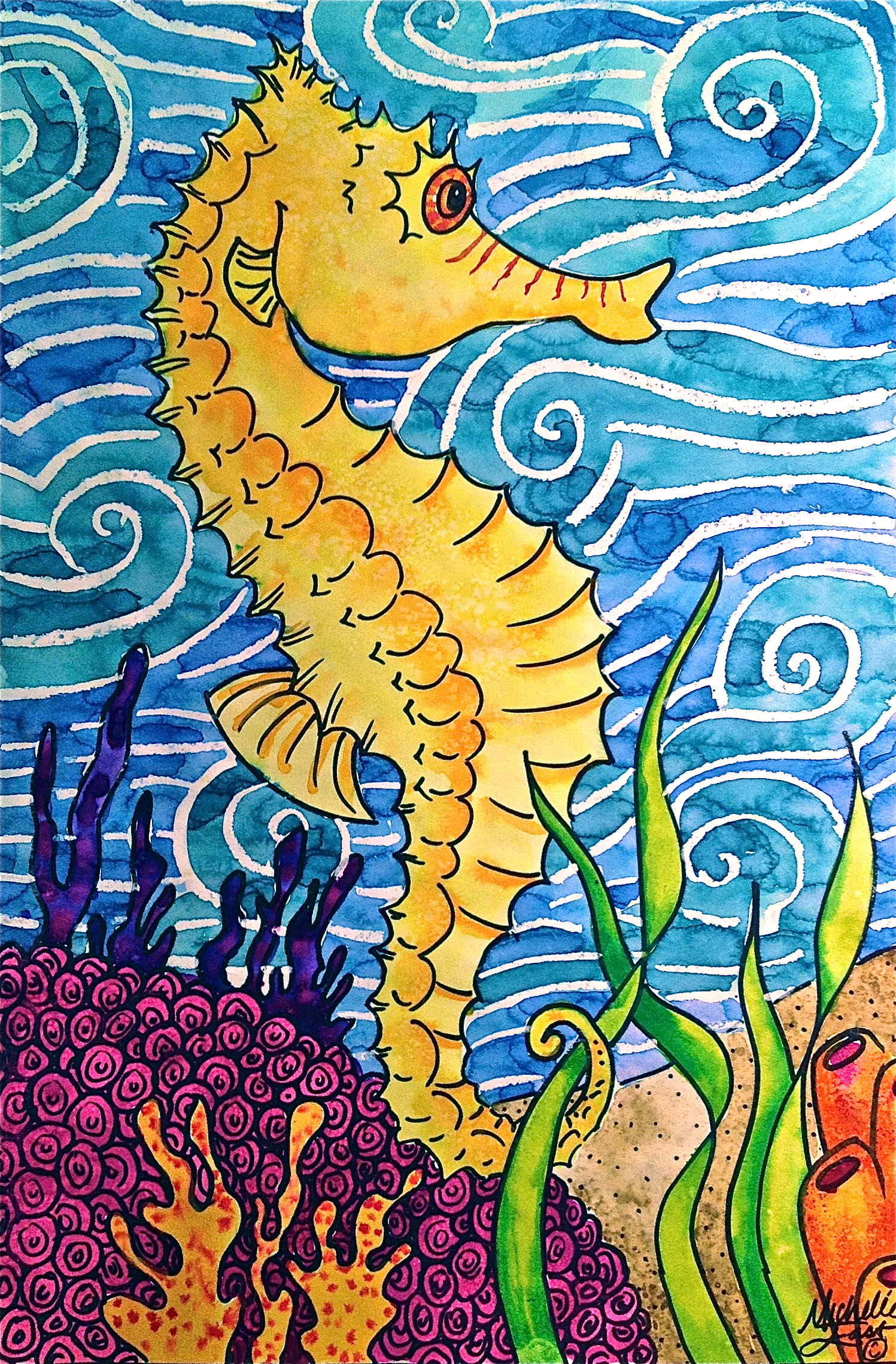 Sea Horse Texture Oil Pastel Amp Watercolor Resist