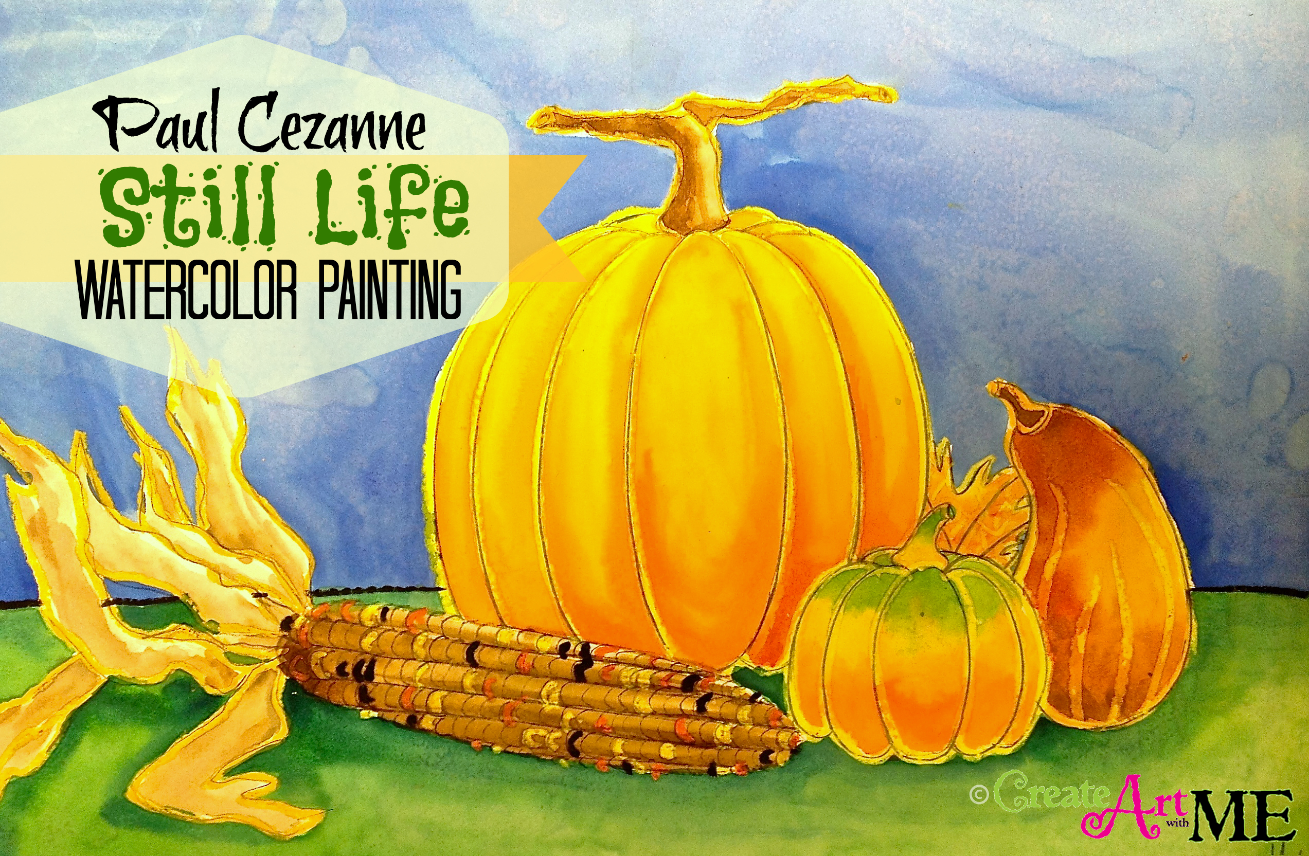 Pumpkin And Gourd Still Life Watercolor Painting on Perspective Worksheets For Elementary