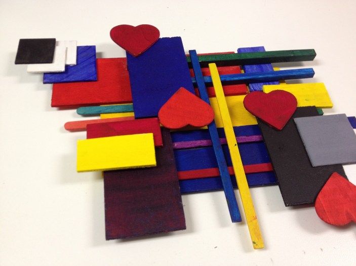 Rhythm Wood Shapes Relief Sculpture