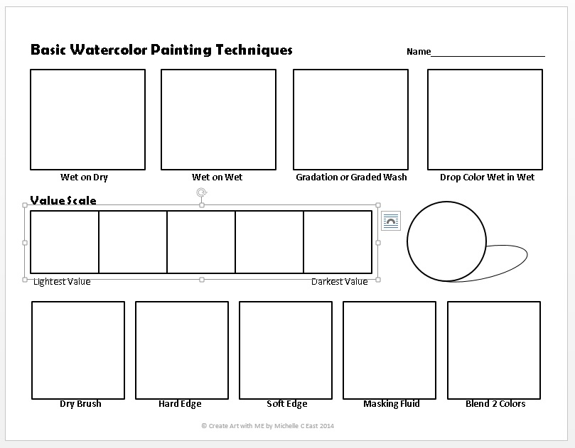 Basic Watercolor Painting Techniques Worksheet