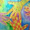 Handprint Pattern Resist Painting