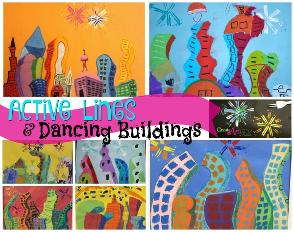 active lines dancing buildings oil pastel drawing