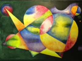 non objective color wheel painting experimental watercolor