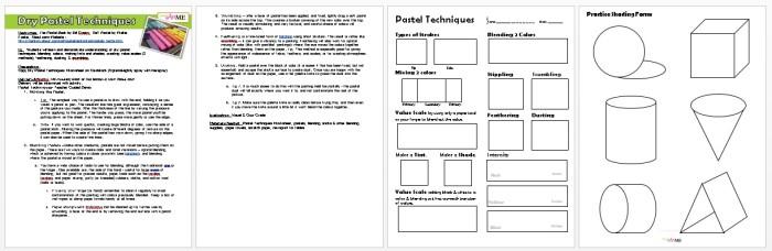 Dry Pastel Techniques Worksheet & Lesson Plan