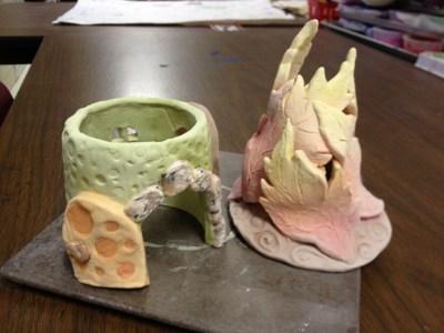 Ceramic Fairy Houses slab construction Lesson Glazing