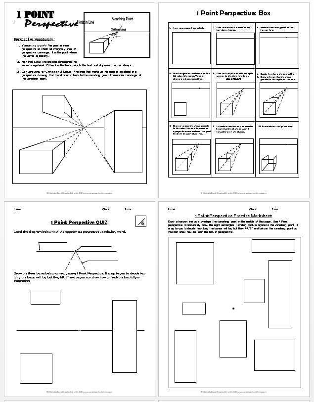 1 point perspective lesson plan 1 boxes create art with me. Black Bedroom Furniture Sets. Home Design Ideas