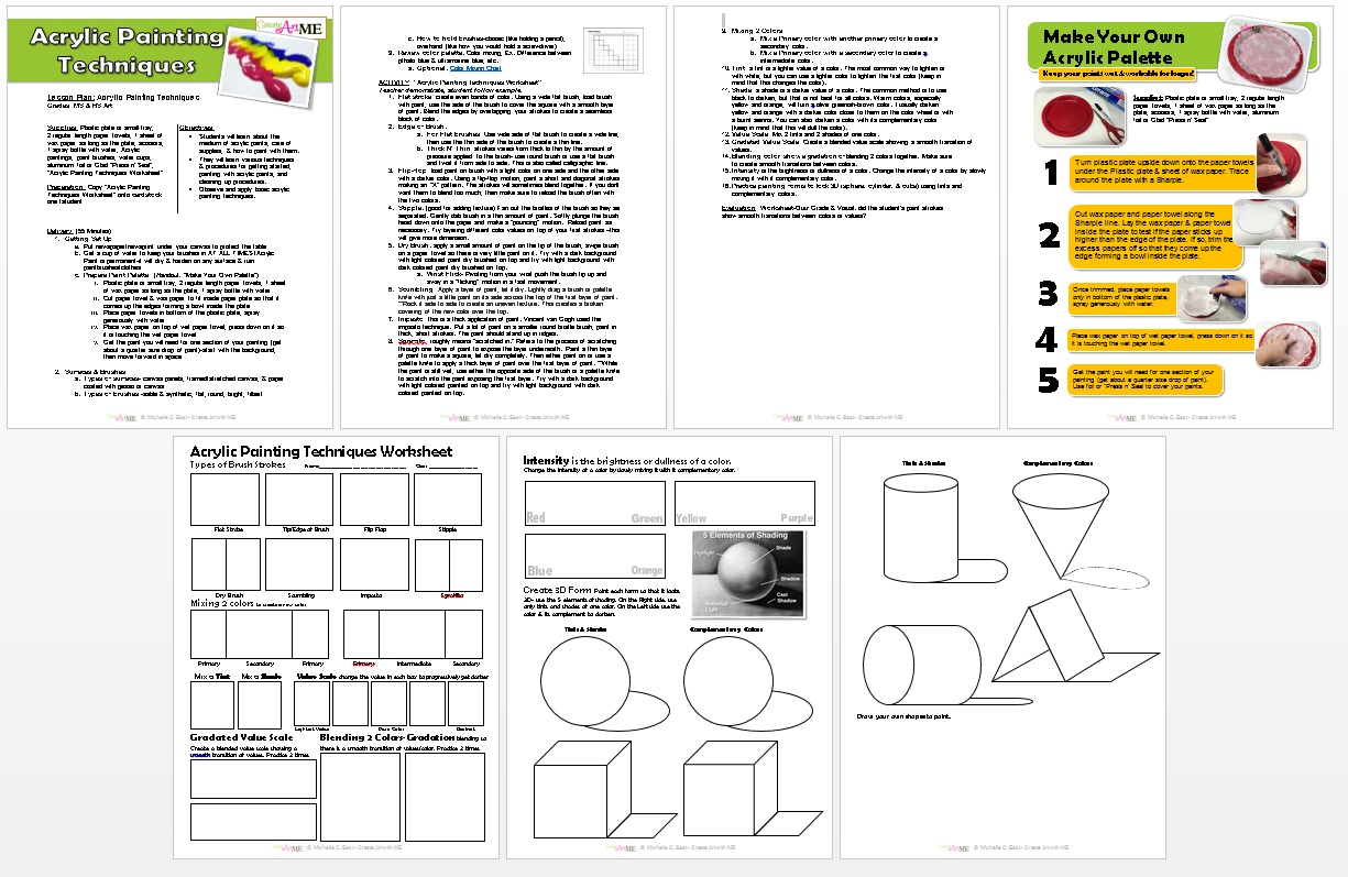 Acrylic Painting Techniques Lesson Plan Amp Worksheet