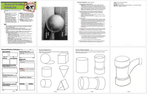 charcoal-drawing-techniques-lesson-plan-worksheet-