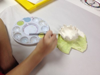 lilypad & flower slab and pinch pot clay art lesson